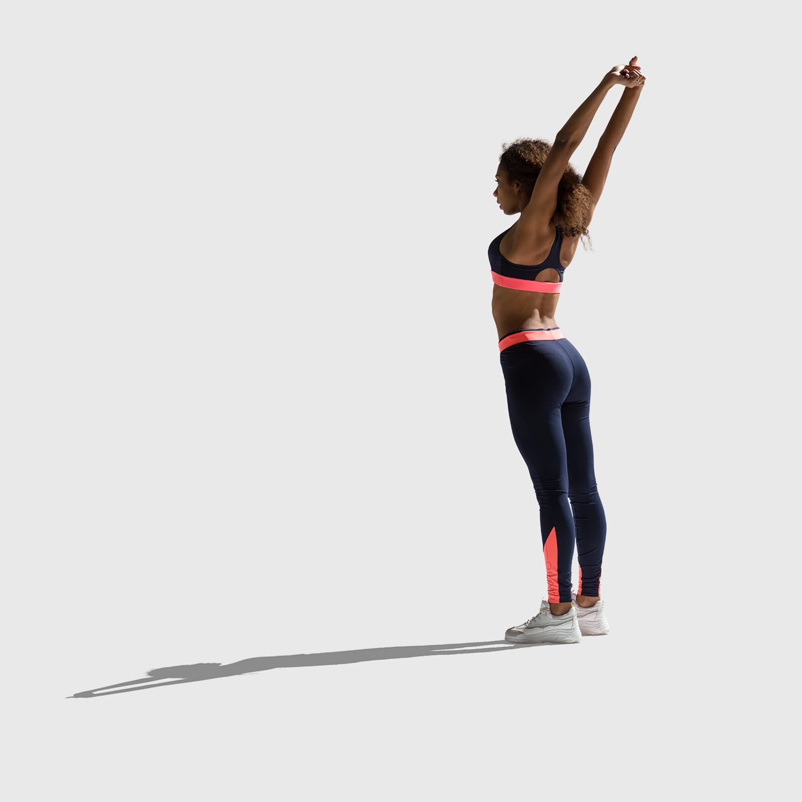 Stretching girl cutout